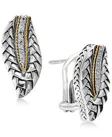 Balissima by EFFY® Diamond Accent Two-Tone Stud Earrings in Sterling Silver & 18k Gold