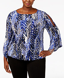 Kasper Plus Size Cold-Shoulder Top