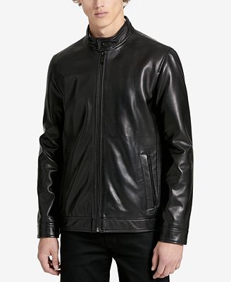 Calvin Klein Men's Classic Leather Jacket - Coats & Jackets - Men ...