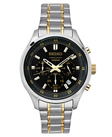 LIMITED EDITION Seiko Men's Chronograph Special Value Two-Tone Stainless Steel Bracelet Watch 43mm