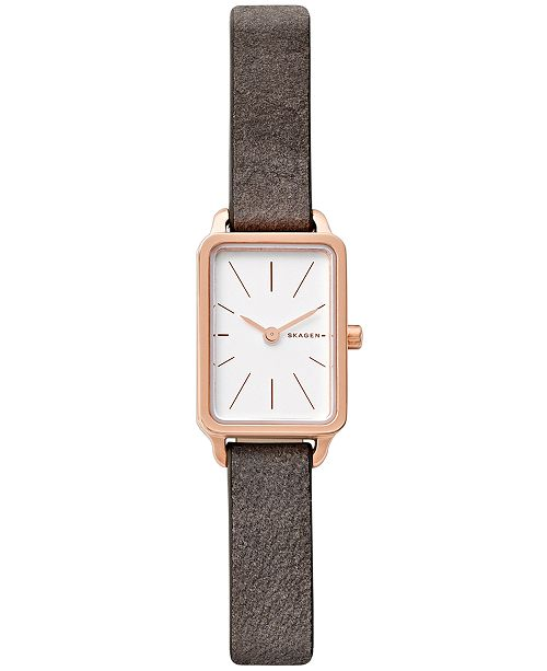 db65ef8b79a2 Skagen Women s Hagen Gray Leather Strap Watch 19x32mm   Reviews ...
