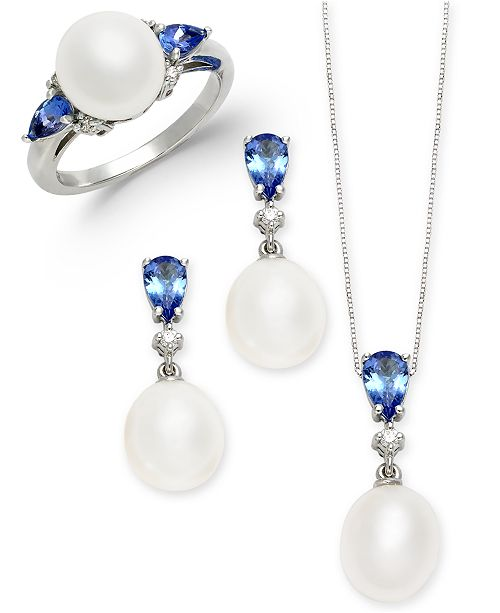 Macy's Cultured Freshwater Pearl, Tanzanite & Diamond Accent Jewelry Collection in 14k White Gold