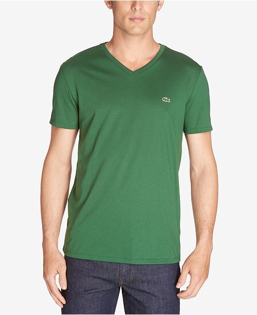 f954bfe439e24e Lacoste Men s V-Neck Pima Cotton T-Shirt   Reviews - T-Shirts - Men ...