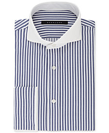 Sean John Men's Regular Fit Navy and White Stripe French Cuff Dress Shirt