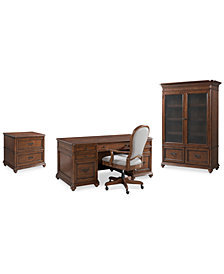 Clinton Hill Cherry Home Office Furniture, 4-Pc. Set (Executive Desk, Lateral File Cabinet, Door Bookcase & Upholstered Desk Chair), Created for Macy's