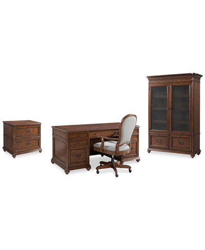 Clinton Hill Cherry Home Office Furniture, 4-Pc. Set (Executive Desk, Lateral File Cabinet, Door Bookcase & Desk Chair), Created for Macy's
