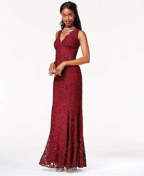Morgan & Company Juniors' Open-Back Glitter-Lace Gown