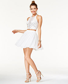 Say Yes to the Dress Juniors' 2-Pc. Embellished Halter Dress, A Macy's Exclusive