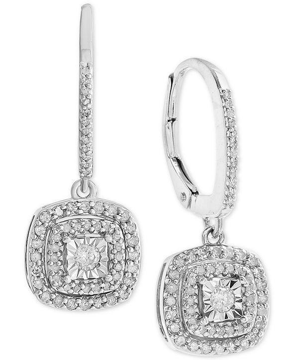 Macy's Diamond Halo Drop Earrings (1/2 ct. t.w.) in Sterling Silver