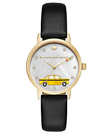 kate spade new york Women's Metro Black Leather Strap Watch 34mm KSW1346