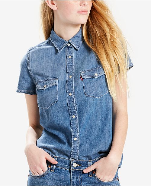 45ca8e206c9 Levi s Larissa Western Cotton Denim Shirt   Reviews - Tops - Women ...