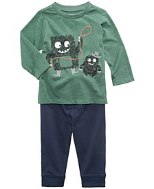 Monster-Print T-Shirt & Jogger Pants, Baby Boys (0-24 months), Created for Macy's