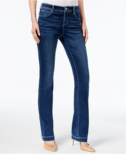 Emporio Armani Womens Mid Rise Distressed Boot Cut Jeans Blue Size 28 Clothing, Shoes & Accessories