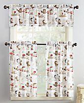 Lichtenberg No. 918 Brew 3-Pc. Graphic-Print Microfiber Rod Pocket Kitchen Curtain Set