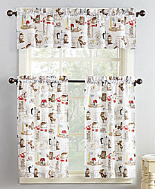 Lichtenberg No. 918 Brew 3-Pc. Graphic-Print Microfiber Rod Pocket Kitchen Curtain Set