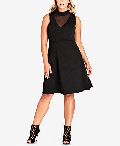 City Chic Trendy Plus Size Sheer-Neckline Dress
