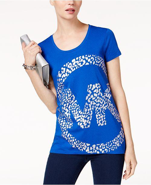 82beb89e40 ... Michael Kors Leo Metallic Logo Print T-Shirt