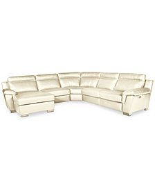 CLOSEOUT! Julius 5-Pc. Leather Chaise Sectional with 2 Power Recliners, Created for Macy's