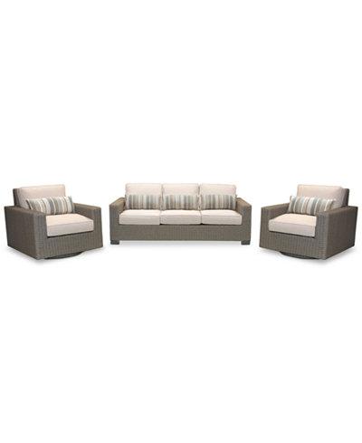 Del Mar 3-Pc. Set (1 Sofa & 2 Swivel Club Chairs), Created for Macy's