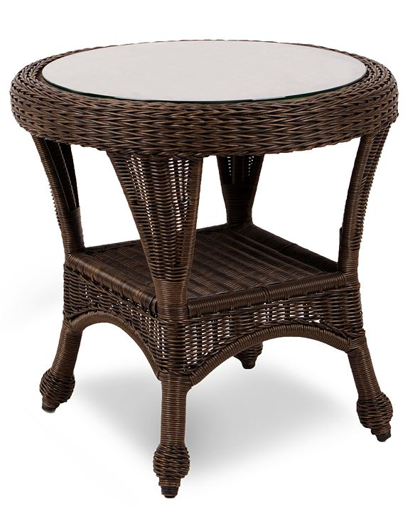 """Furniture Monterey Wicker 22"""" Round Outdoor End Table, Created for Macy's"""