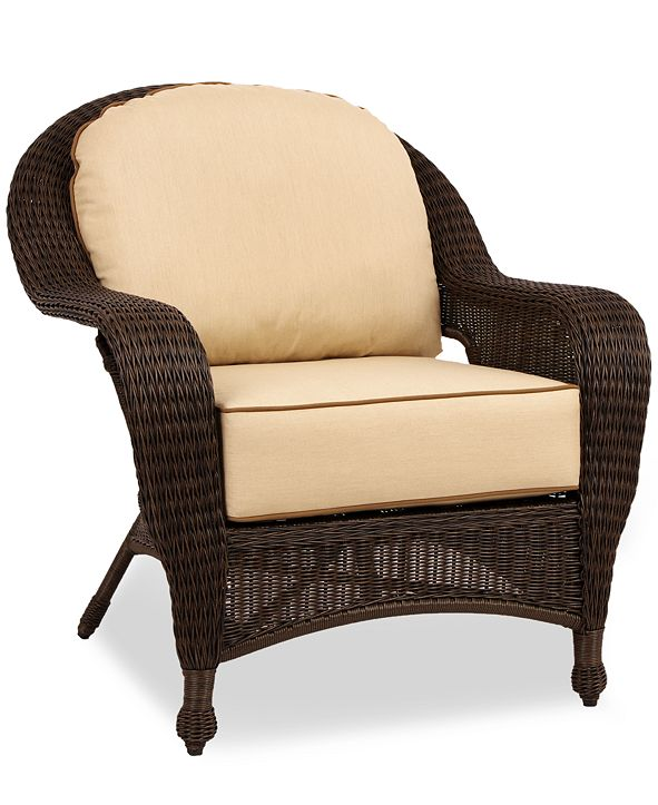 Furniture Monterey Wicker Outdoor Club Chair with Sunbrella® Cushions, Created for Macy's