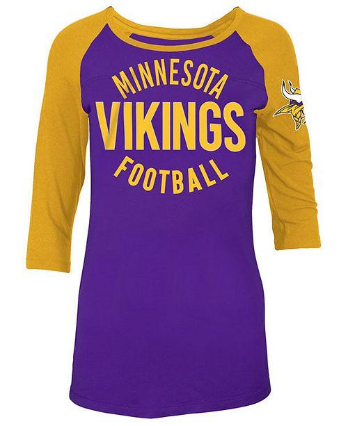 30c81f25 5th & Ocean Women's Minnesota Vikings Rayon Raglan T-Shirt - Sports ...
