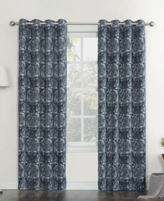 """Stanford Floral Print Woven Linen Texture Curtain Panel, 52"""" W x 63"""" L"""