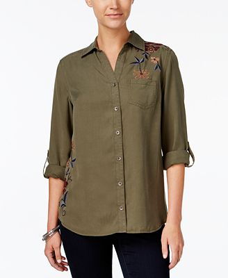 Style & Co Petite Cotton Embroidered Shirt, Created for Macy's