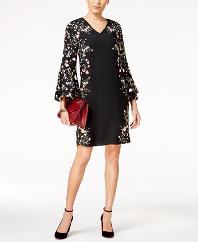 Alfani Petite Floral-Border Shift Dress, Created for Macy's