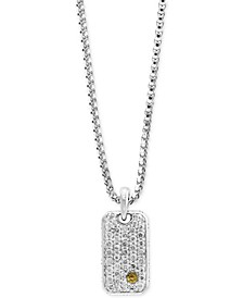 Men's White Sapphire Cluster Dog Tag Pendant Necklace (1-3/8 ct. t.w.) in Sterling Silver & 18k Gold