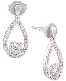 Diamond Teardrop Drop Earrings (1/3 ct. t.w.) in 14k White Gold