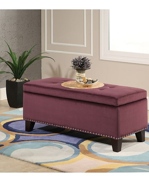 Abbyson Living Closeout Aceline Storage Ottoman With Nailhead Trim Quick Ship Furniture Macy S