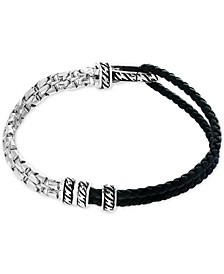 EFFY® Men's Black Leather Hinged Bracelet in Sterling Silver