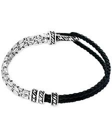 EFFY® Men's Black Leather Hinged Bracelet in Sterling Silver