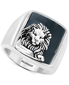 EFFY® Men's Hematite (19 x 15-1/2mm) Lion Ring in Sterling Silver
