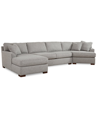 Carena 3 Pc Fabric Sectional With Cuddler Chaise Created For Macy S
