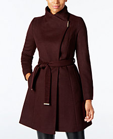 MICHAEL Michael Kors Petite Asymmetrical Belted Coat