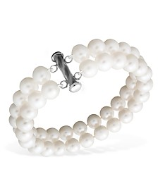 Pearl Bracelet, Sterling Silver Cultured Freshwater Pearl Two Row (8-1/2-9-1/2mm)