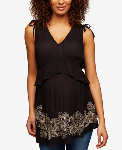 A Pea In The Pod Maternity Embroidered Sleeveless Top