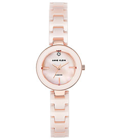 Anne Klein Women's Diamond-Accent Light Pink Ceramic Bracelet Watch 24mm