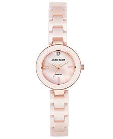 Anne Klein Women's Diamond-Accent Light Pink Ceramic Bracelet Watch 24mm