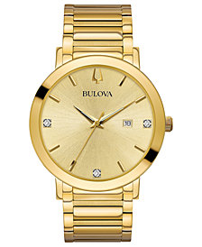 Bulova Men's Diamond Dress Diamond-Accent Gold-Tone Stainless Steel Bracelet Watch 42mm