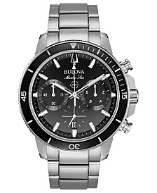 Bulova Men's Chronograph Marine Star Stainless Steel Bracelet Watch 45mm