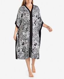 Plus Size Wide-Sleeve Printed Caftan