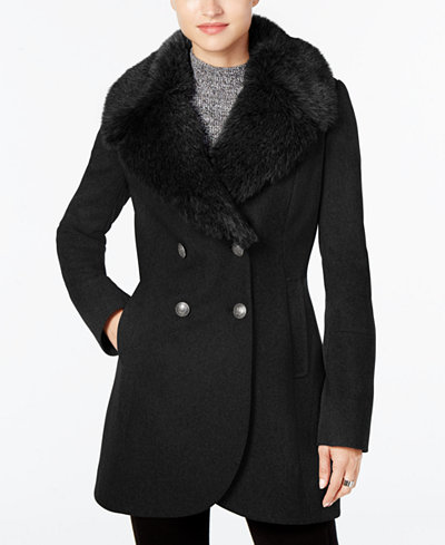 French Connection Faux-Fur-Collar Wool-Blend Walker Coat - Coats ...