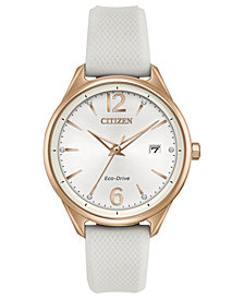 Citizen Eco-Drive Women's White Silicone Strap Watch 36mm
