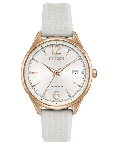 Citizen Eco-Drive Women's White Silicone Strap Watch 36mm