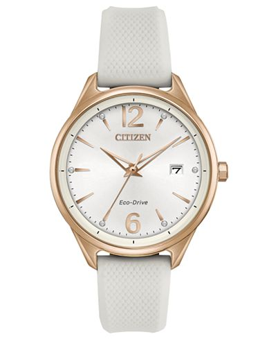 Citizen Chandler Silver Dial White Silicone Women's Watch