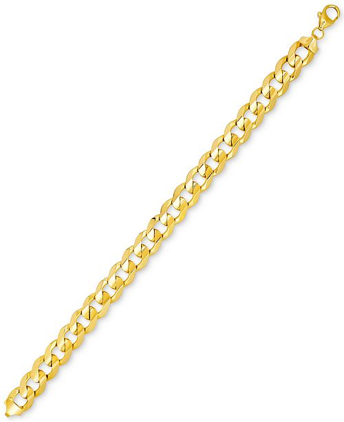 Italian Gold Men's Curb Link Bracelet in 10k Gold, Made in Italy