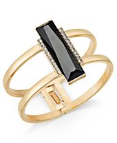 INC International Concepts Gold-Tone Pavé & Jet Stone Bar Hinged Bangle Bracelet, Created for Macy's
